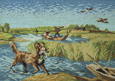 HANDMADE TAPESTRY cross stitch nidlepoint duck hunting dog landscape PICTURE