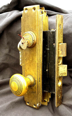Antique Vintage Art Deco Brass Door Entry Exterior Lockset Knob Plate Lock Keys