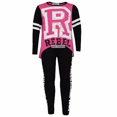 New Girls Kids Rebel Tracksuit Leggings & Top Pink Black Age 7 8 9 10 11 12 13