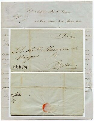 PORTUGAL 1848 SERPA to BEJA ENTIRE LETTER