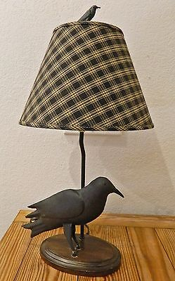 "Desk Table Lamp w Metal Iron Crow Figurine Shade Included 24"" Tall"