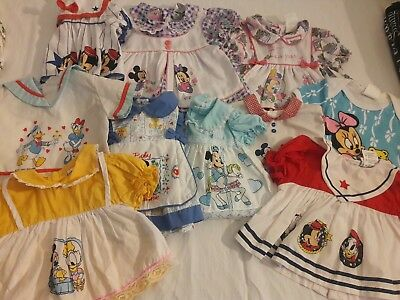 Vintage disney mickey minnie donald 0 6 month baby or doll tops lot of 10