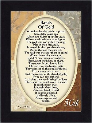 *NEW* Bands of Gold, 50th Wedding Anniversary Gift Picture Frame, 7x9 77979