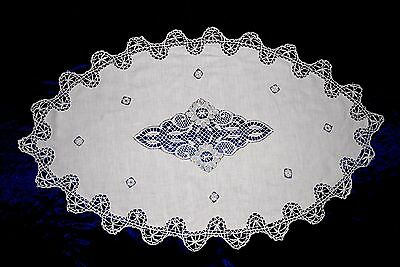 LARGE Antique French Cotton Table Runner handmade lace