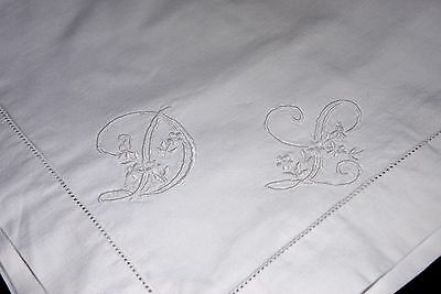 "Pretty Antique Hand Embroidered French Linen Pillowcase monogram ""DG""."