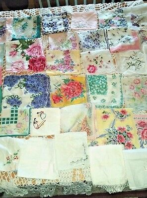 Lot Of 42 Vintage Hankies Hankerchiefs Floral Lace Designs Crocheted