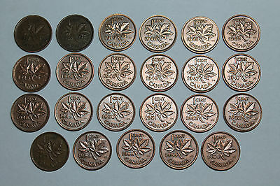 Lot of 23 circulated Canadian small cents 1937-1956