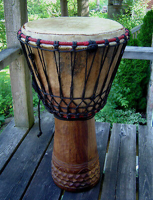 """LARGE VINTAGE HAND-CARVED AFRICAN DJEMBE DRUM NAT SKIN 26"""" TALL w/ CARRYING BAG"""