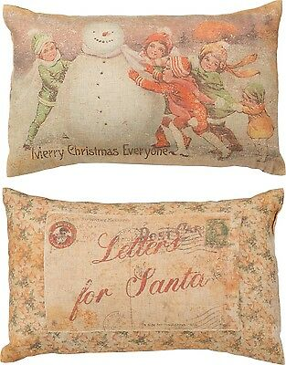 "PBK 14"" x 9"" ACCENT PILLOW ""Merry Christmas Everyone"" Letters For Santa"