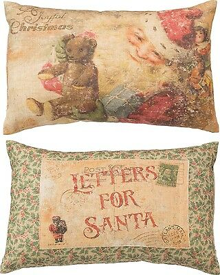 "Primitives By Kathy 14"" x 9"" ACCENT PILLOW ""Joyful Christmas"" Letters For Santa"