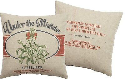 "Primitives By Kathy 12"" x 12"" Christmas Throw Pillow ""Under The Mistletoe"""