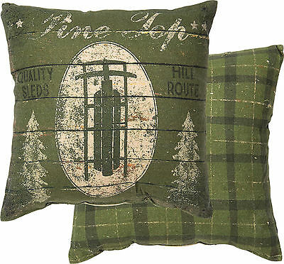 "Primitives By Kathy 12"" x 12"" Christmas Throw Pillow ""Pine Top Quality Sleds"""