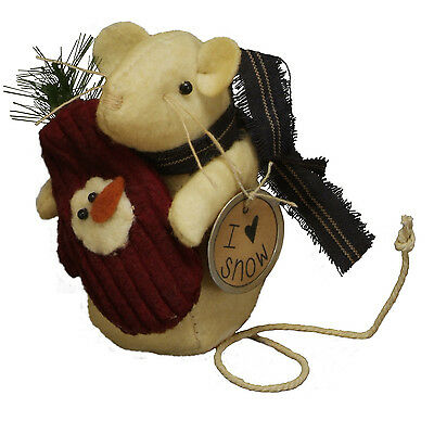 Primitives By Kathy I Love Snow Holiday Mitten Mouse Figure Ornie Ornament Mice