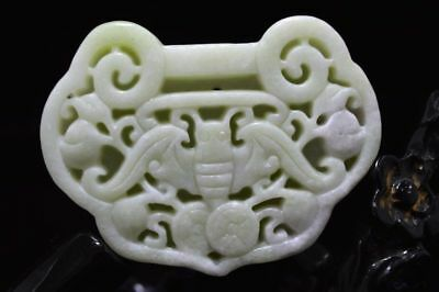 Chinese natural White  jade carved amulet Pendant Necklace 长命锁 045