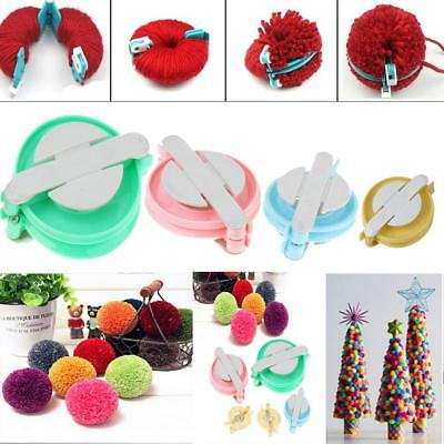 Lot 4pc Pompom Maker Fluff Ball Weaver Knitting Needle Tool Kit Bobble Craft NEW