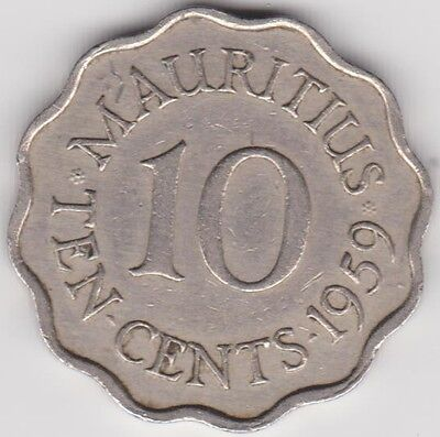 1959 Mauritius Ten Cent Coin ~ km 33 ~ Fine ??? ~ see scans grade for yourself
