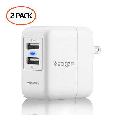 Spigen® Essential® [F202] White USB Wall Charger 2-Port 4.8 Amp - 2 Pack