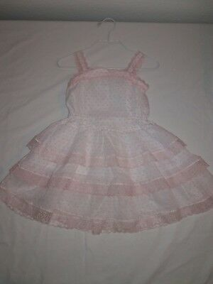 vintage toddler girl lace pinny dress ruffle skirt.