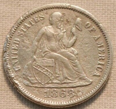 1868 S Seated Liberty One Dime, Scarce Date, Higher Grade Details, Silver 10C