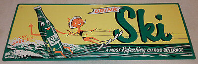 "Antique Original Nos 1960 Ski Soda 32"" Metal Sign W/ Girl Water Skier Bottle Man"