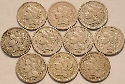 Lot of (10) Three Cent Nickels 1865 1870 1871 1872 1873 1874 1881 3CN Type Coins