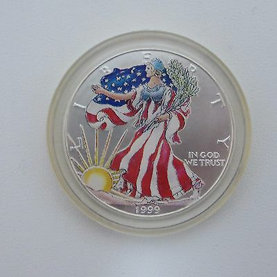 1999 American Silver Eagle .999 Fine Silver 1 oz Bullion Coin PAINTED COLORIZED