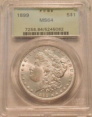 1899 P $1 PCGS MS 64 Morgan Silver Dollar, Scarce Date Uncirculated Coin OGH