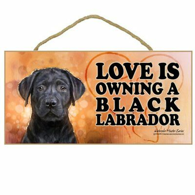 10x5 Wooden Black Labrador Dog Plaque Sign LOVE IS OWNING A BLACK LABRADOR door