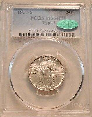 1917 S Type 1 25C PCGS MS 64 FH CAC Standing Liberty Silver Quarter, Full Head