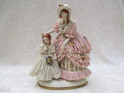 Antique Germany Porcelain Dresden Lace Mother/Lady with Daughter/Girl