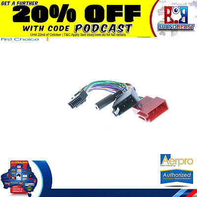 Aerpro Jvc To Iso Connector Plug Harness 16 Pin For KW-R400 Unit Wiring Loom