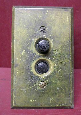 Antique Ge Push Button Switch & Brass Cover Plate