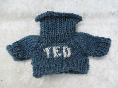 """Boyds Bear Blue Wool Knitted """"Ted"""" Turtleneck Sweater - NOS"""
