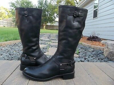 Women's Ecco Black Leather Harness Boots Size 7 Euro Size 37