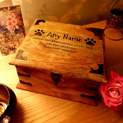 Traditional Wooden Pet Urn For Ashes Personalised Cremation Box