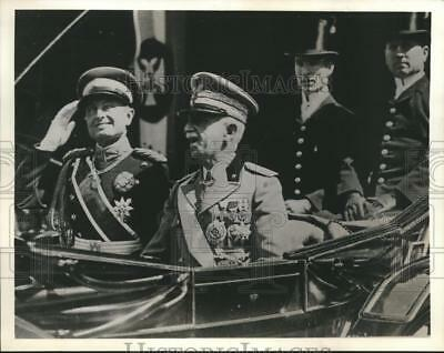 1939 Press Photo Prince Paul of Yugoslavia riding w/ King Victor of Italy, WWII