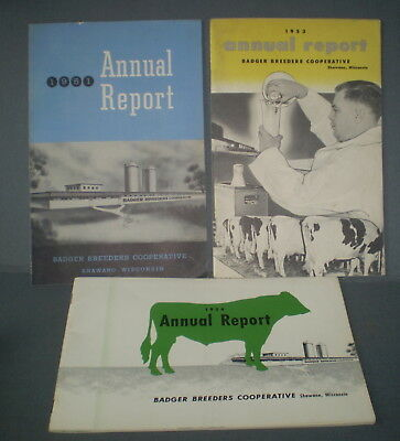 3 vtg 1950's WI BADGER BREEDERS Reports DAIRY COWS Cattle