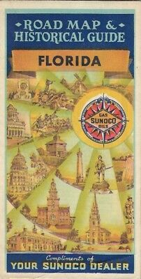 1937 SUNOCO Motor Oil Road Map FLORIDA Miami Tampa Jacksonville Ferries Canals