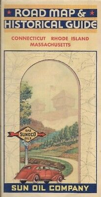 1935 SUNOCO OIL CO Road Map CONNECTICUT MASSACHUSETTS RHODE ISLAND Providence
