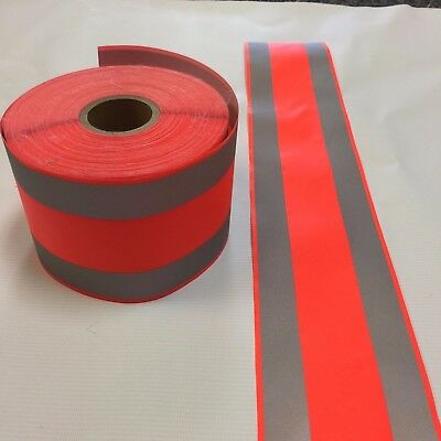 "Reflective Tape 4"" Orange/silver Sew-On 10 Yards/roll $0.80/yard (30 Ft)"
