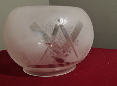 Deeply Etched Masonic Glass Lamp Shade c.1885