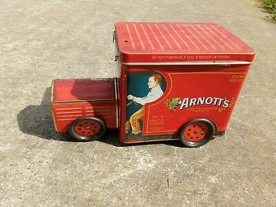 ARNOTT'S RED TRUCK BISCUIT TIN. Arnotts Van Car tin. Sa-002.Vintage.unique style