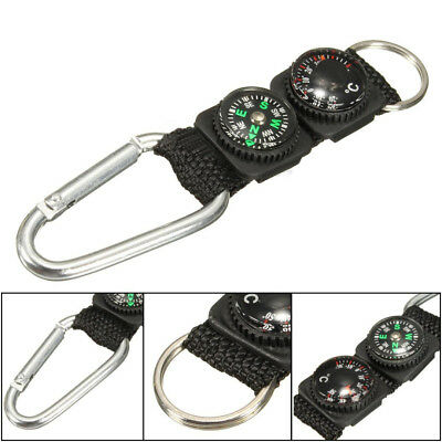 Mini Multifunction 3 in 1 Hiking Compass Travel Thermometer Carabiner Key Ring