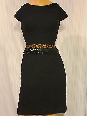 Vintage 1950's/60's Little Black Dress With Sequined & Beaded Waist Union Label
