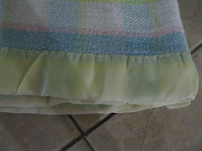Vintage Baby Blanket  Blue White  Pink  & Yellow 41.5X34