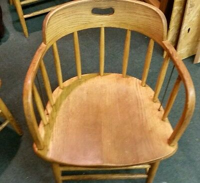 VINTAGE BOLING CHAIR CO. SOLID OAK FIREHOUSE CAPTAINS CHAIR BAR  #150 70 aval.