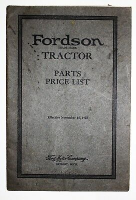 Original 1923 Fordson Tractor Parts Price List With Pictures