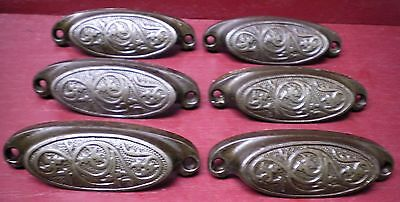 6 Antique Patented 1873 Fancy Cast Iron Bin Pulls Drawer Handles