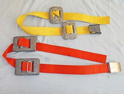 2 Scuba Dive Weight Belt Vintage Quick Release Buckle 7lb and 11lb Red Yellow
