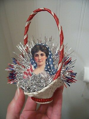 Antique Vtg. Look Christmas Ornament, LADY LIBERTY/Basket, Scrap,Tinsel,Handmade